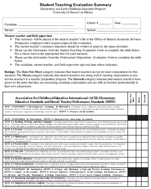 Student Teaching Evaluation Form Summary ELEMENTARY and EARLY – Teacher Evaluation Form