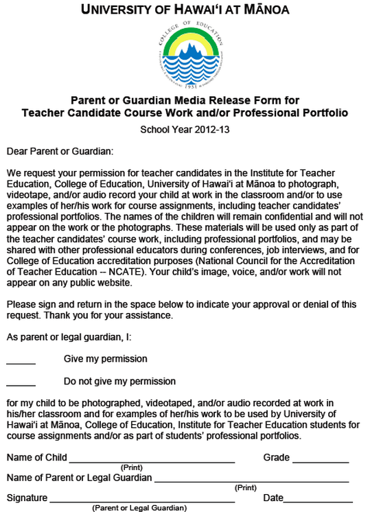 Parent/Guardian Media Release Form